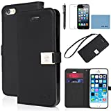 iPhone 5 case,iPhone 5S case,by Ailun,Wallet case,PU leather case,credit card holder,Flip Cover Skin[Black] with screen protect and styli pen