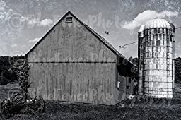 Rustic Barn Photography in Black and White. Art Photograph, Summer in the Country Wall art. Sizes Available from 5x7 to 20x30.