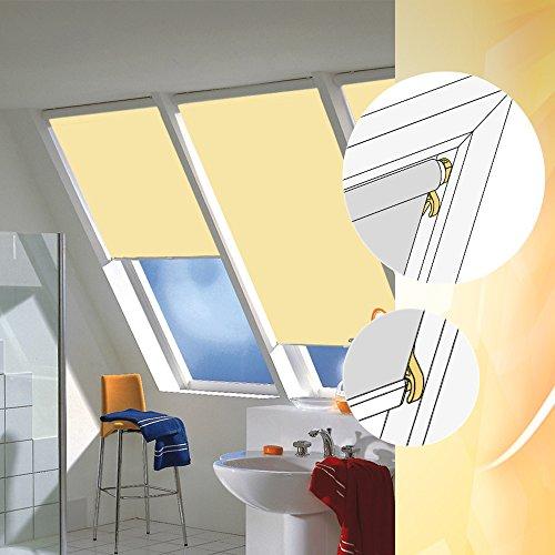 abdunkelungsrollo mit haltekrallen f r braas f r ba da 85 110 in stofffarbe e005 hellgelb. Black Bedroom Furniture Sets. Home Design Ideas