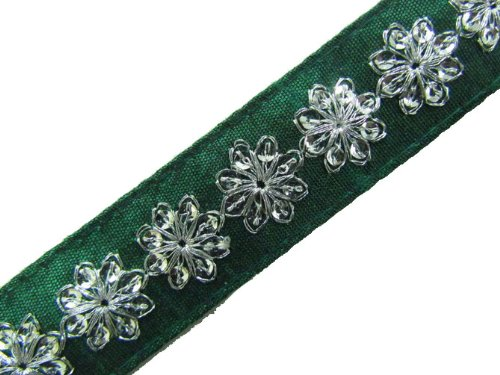 1 Y Green Base Silver Sequin Ribbon Trim Craft Sewing Lace India