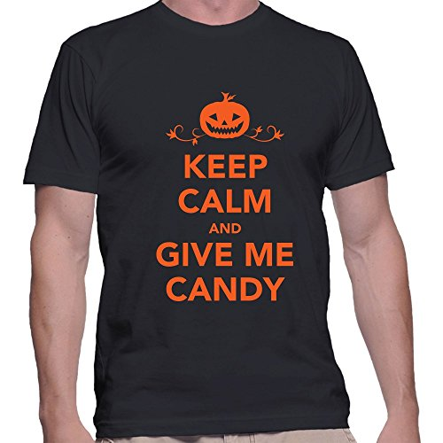 [Keep Calm And Give Candy Halloween T Shirt X-Large Black] (Witch Coustumes)
