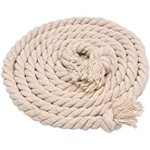 Sportsun Soft Triple-Strand Twisted Cotton Rope, 50 Feet Long, Color Beige