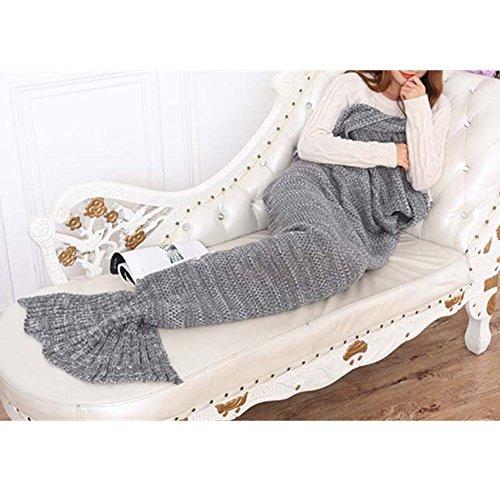 Handgemachte gestrickte Mermaid Schwanz Decke, Sofa Quilt Wohnzimmer Decke Mermaid Decke für Erwachsene, Camping, Geschäftsreise und Reisen perfektes Geschenk, 195cmX90cm (Grau)