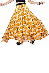 ISHIN Georgette Printed Yellow Full Length Skirt