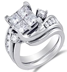 buy Size 4 - 14K White Gold Large Diamond Cross Over Ladies Bridal Engagement Ring With Matching Curved Notched Wedding Band Two 2 Ring Set - Square Princess Shape Center Setting W/ Invisible Channel Set Princess Cut & Round Diamonds - (3.0 Cttw)