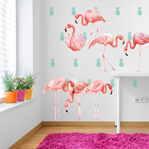 Pink Flamingo Watercolor Wall Decal Kit - Flamingo Wall Decal - Reusable Wall Decal by Chromantics (Flamingo Decal compare prices)