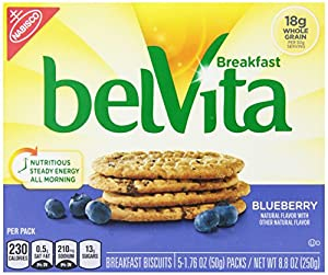 Belvita Breakfast Biscuit, Blueberry, 1.76 Ounce Package, 5 Count, (Pack of 3)