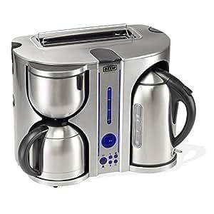 BEEM Germany Ecco de Luxe 4-in-1, Frühstücks-Center: Kaffeemaschine, Wasserkocher und Toaster, Edelstahl