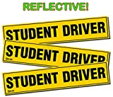 Zento Deals Set of 3 - Student Driver Magnets - Reflective Vehicle Car Sign - Black Letters on a Yellow Reflective Background 12 X 3 X 0.1 Inches  ✺ Trying out new things is very exciting but some are risky. Being a newbie on the road- drivi...