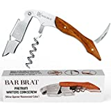 Corkscrew Professional Waiters Wine Bottle Opener by Bar Brat (Rosewood) / All-In One With Foil Cutter / 110 Cocktail Recipe Ebook Included