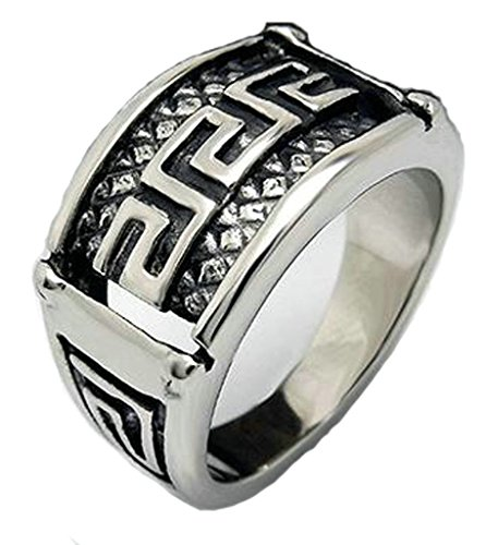 Mens Stainless Steel Rings Retro Classic The Great Wall Lines Black Size 12 - Adisaer Jewelry