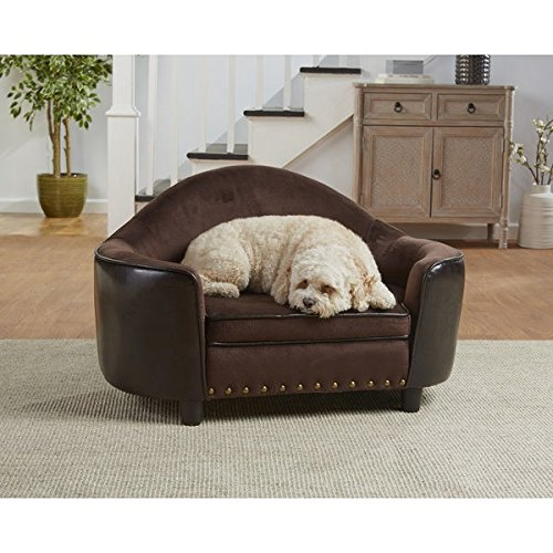 Caldwell Brown Faux Leather Headboard Dog Bed with Storage