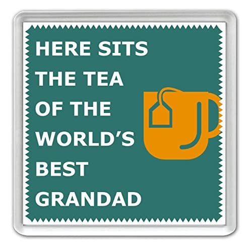Here Sits The Tea of the World's Best Grandad - Coaster - Great Birthday gift or Perfect Christmas present idea!