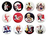 Set of 12 KFC, Kentucky Fried Chicken, Colonel Sanders Badges/ Buttons 30mm