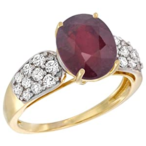 14k Yellow Gold Natural Enhanced Ruby Ring Oval 10x8mm Diamond Accent, 7/16inch wide, size 7