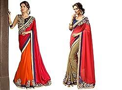 Pragya creations Women's Chiffon Saree (Prag40_Multi)-pack of 2