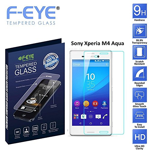 FEYE® Sony Xperia M4 Aqua Tempered Glass Screen Protector, Premium Shatter Proof Crystalline Tempered Glass Screen Protection for Sony Xperia M4 Aqua, 9H Hardness, 0.3mm Thickness, Made From Real Glass, Shatterproof, High Definition Clear Tempered Glass, Oleophobic Coating, Safety Packing, Fast Delivery and Easy To Install In your Smart Phones and Android Phones (Sony Xperia M4 Aqua)