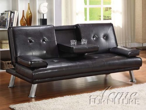 Acme 15280 Kayden Adjustable Sofa With Cup Holder, Espresso Pu front-904409