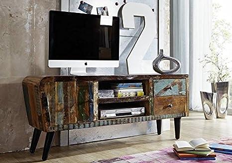 madera maciza Muebles sólido completo Tablero de la TV Viejo roble De madera maciza Muebles macizos laqueado Vintage Años sesenta #102