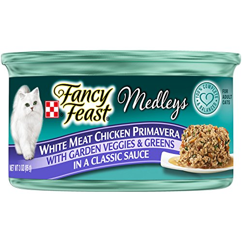 Purina Fancy Feast Wet Cat Food, Elegant Medleys, White Meat Chicken Primavera with Garden Veggie and Greens in a Classic Sauce, 3-Ounce Can, Pack of 24 (Fancy Feast Meat compare prices)