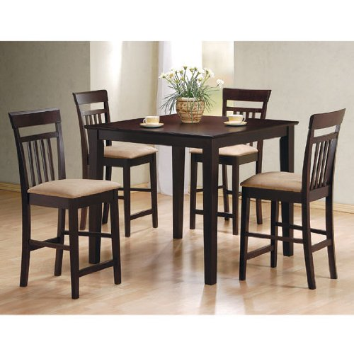 item 5 pc espresso finish wood counter height dining table set