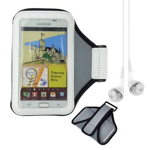 Sports Armband Gym Band Case For Samsung Galaxy Note 3 Note 2 Htc Droid Dna Sony Xperia Z1 L39H + Vangoddy White Headphone With Mic (Gray)