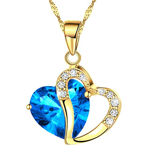 KATGI Fashion Austrian Crystals Heart Shape Pendant Necklace (Gold Plated Med Blue)