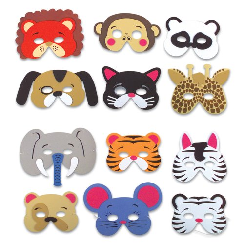 Jungle Animal Mask Assortment (1 dz)