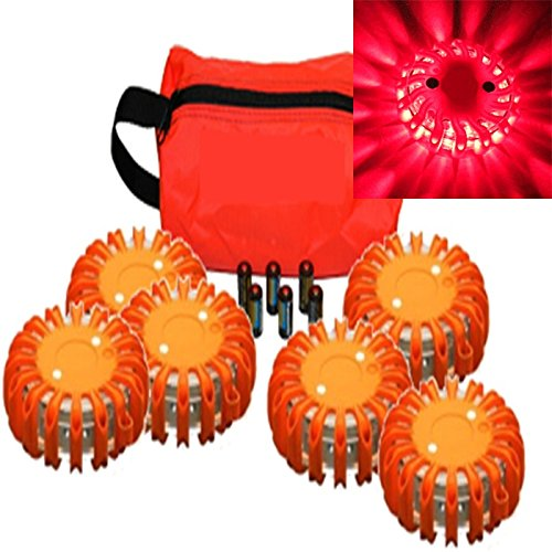 6 Pack Red Replaceable Batteries And Travel Bag Waterproof Led Magnet Safety Flare With 9 Operating Modes + Free Lithium Ion Batteries And Travel Bag