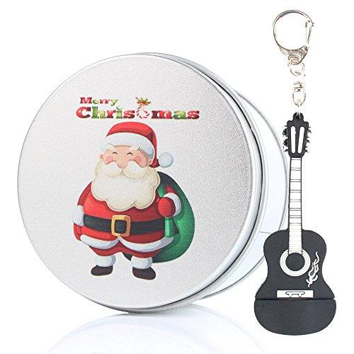 Anvor® 8G/16G/32G/64G USB FLASH Drive Fun Cute Music Black Guitar Silicone USB Stick with Keychain- 64GB Merry Christmas Santa