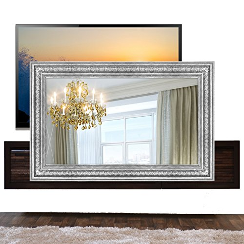 Handmade Framed Mirror to Turn Your Existing TV to Hidden Mirrored Television that Blends into Your Home or Business Decor (49 Inch, Patterna Silver)