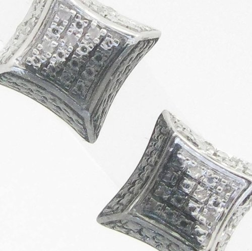 Mens 925 Sterling Silver earrings fancy stud hoops huggie ball fashion dangle white and black small square sided pave earrings