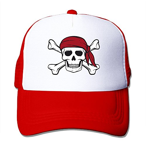 CEDAEI Pirate Outdoor Mesh Hat Cross-country Hat Adjustable Red (Cartoon Pirate Hat)