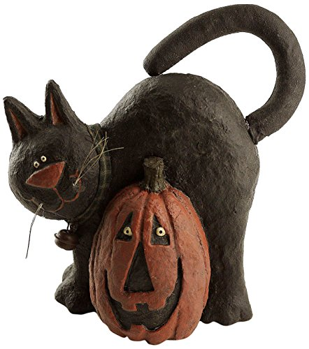 craft-outlet-papier-mache-cat-with-pumpkin-figurine-85-inch