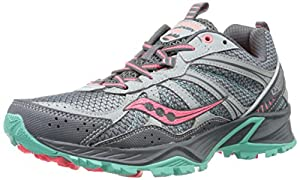 Saucony Women's Excursion TR8 Trail Running Shoe,Grey/Coral/Mint,6 M US