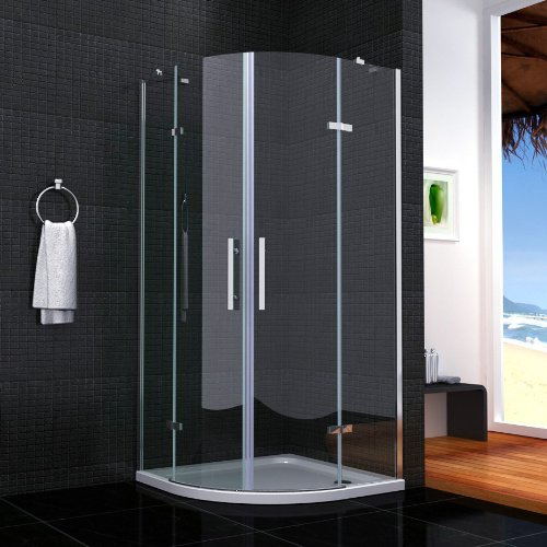 Glas Dusche Klappbar : 80x80x195cm Runddusche Doppel Faltt?r Duscht?r Echtglas Duschkabine
