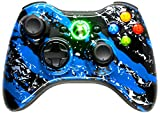 BLUE SPLATTER 5000 + Modded Controller Xbox 360 Hydro Dipped Mod with Rapid Fire / Jitter / Quick Scope / Sniper Breath / Drop Shot / Jump Shot / Auto Aim / Quick Aim / Burst / Akimbo / Mimic / Adjustable / Adjustable Burst / Auto Burst / Dual Trigger and more! For COD Ghosts / MW1 / MW2 / MW3 / Black Ops 1 / Black Ops 2 / WAW / Gears of War Series / Halo Series / GTA / BF and more! 5500