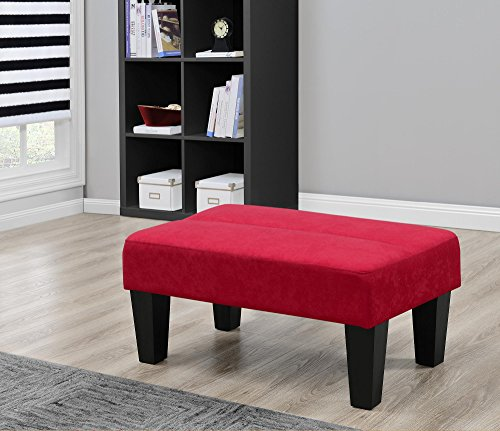 Modern Minimalist Sturdy Kebo Ottoman, Upholstered in Rich Microfiber, Perfect Footrest, Coffee Table or Extra Seating (Red) (Convertible Coffee Table Black compare prices)