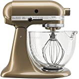 KitchenAid KSM155GBCZ Artisan Design Series with Glass Bowl, 5 quart, Champagne Gold