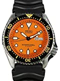 SEIKO Stainless Steel Automatic Diver Orange Dial Black Rubber Strap SKX011J1