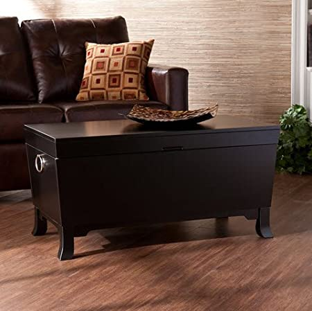 Best Home Parsons Contemporary Black Living Room Coffee Table Trunk with Storage