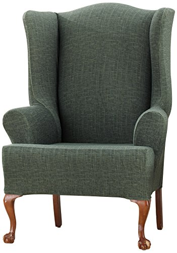 Sure Fit Stretch Vintage Crosshatch Wing Chair Slipcover, Green front-930473