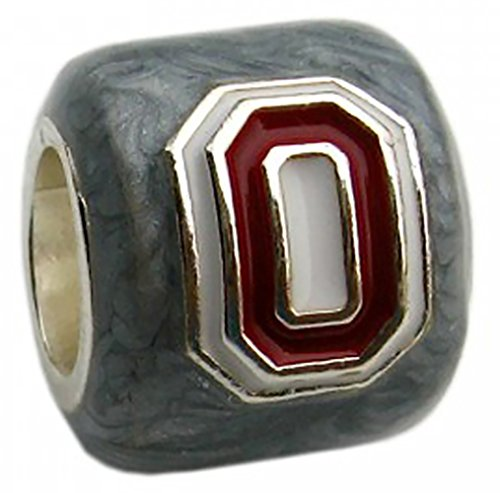 OSU Buckeyes 3-D Block O logo Bead Charm - GREY - Fits Pandora & Others
