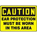 "Accuform Signs MPPA602VP Plastic Safety Sign, Legend ""CAUTION EAR PROTECTION MUST BE WORN IN THIS AREA"", 7"" Length x 10"" Width x 0.055"" Thickness, Black on Yellow"