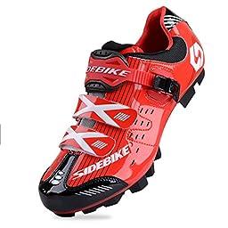 Smartodoors SIDEBIKE Breathable MTB Cycling Shoes Adjustable Road Bike Shoes for Mountain Bike Racing MTB Bike Shoe (MTB-Red Black,US12/EU45/Ft28.5cm)