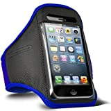 Direct-2-Your-Door - Apple Iphone 4S Sports Armband Strap Pouch Case Cover - Blue