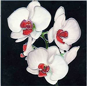 Continental Art Center BD-2079 8 by 8-Inch Three White Orchids with Red Center Ceramic Art Tile