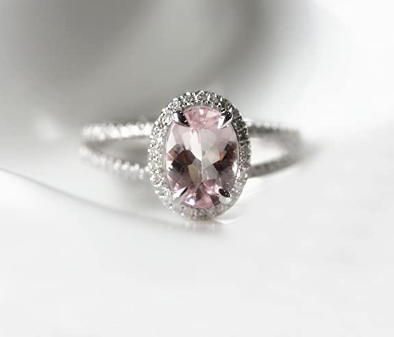 VogueGem VS 6x8mm Oval Morganite Pave Diamonds 14K White Gold Split Shank Engagement Ring