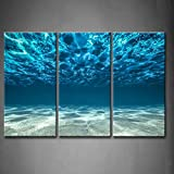 3 Panel Wall Art Blue Ocean Bottom View Beneath Surface Painting The Picture Print On Canvas Seascape Pictures For Home Decor Decoration Gift piece (Stretched By Wooden Frame,Ready To Hang)