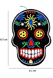 Black Novelty Iron on Skull Candy Embroidered Patch # with Free Gift